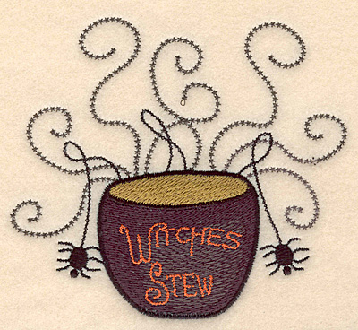 """Embroidery Design: Witches stew with spiders large 5.00""""w X 4.49""""h"""