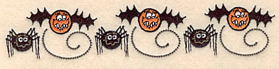 """Embroidery Design: Spider and bat border 6.97""""w X 1.42""""h"""