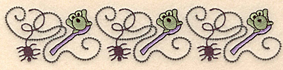 """Embroidery Design: Spider and frog border 6.99""""w X 1.47""""h"""