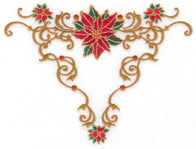 Embroidery Design: Poinsetta triangle swirls 6.60w X 4.98h
