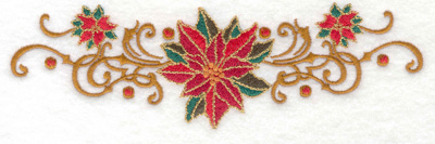 Embroidery Design: Poinsetta with swirls 6.93w X 2.11h
