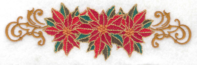 Embroidery Design: Poinsetta trio  6.96w X 2.16h