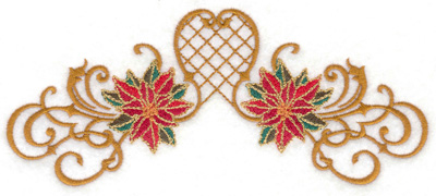 Embroidery Design: Poinsetta duo with swirls 6.96w X 2.95h