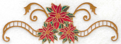 Embroidery Design: Poinsetta trio with banner 6.99w X 2.50h