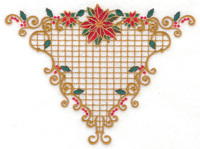 Embroidery Design: Fancy poinsetta triangle 6.67w X 4.96h