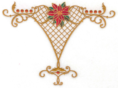Embroidery Design: Poinsetta in vase stucture 6.68w X 4.99h