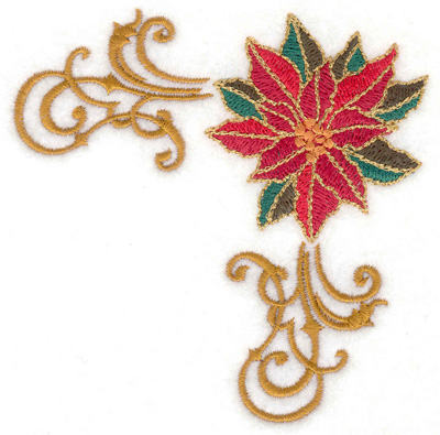 Embroidery Design: Poinsetta corner 3.81w X 3.81h