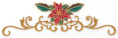 Embroidery Design: Poinsetta over vines 6.98w X 2.11h