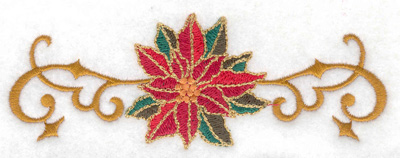 Embroidery Design: Poinsetta with vines 4.98w X 1.78h