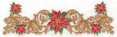 Embroidery Design: Poinsettas with elegant swirls 6.96w X 2.16h