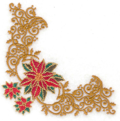 Embroidery Design: Elegant Poinsetta corner 3.81w X 3.77h
