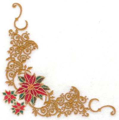 Embroidery Design: Decorative Poinsetta corner 4.94w X 4.90h