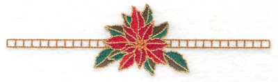 Embroidery Design: Single poinsetta on line 6.91w X 1.87h