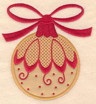 Embroidery Design: Christmas ornament gold applique 4.58w X 5.00h