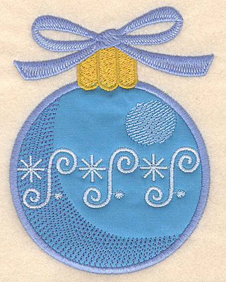 Embroidery Design: Christmas ornament blue applique 3.77w X 4.99h