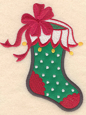 Embroidery Design: Christmas stocking applique 3.78w X 4.99h