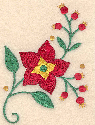 Embroidery Design: Poinsetta and berries 2.77w X 3.88h