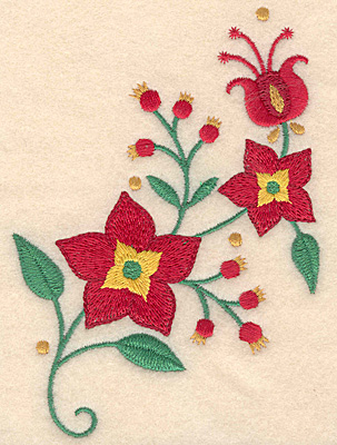 Embroidery Design: Christmas poinsetta 3.59w X 4.99h
