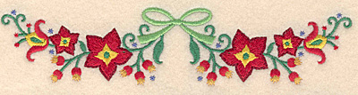 Embroidery Design: Poinsetta with ribbon 6.98w X 1.59h