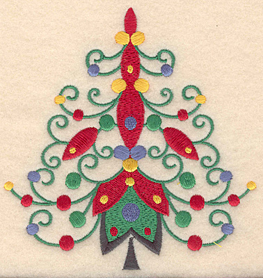 Embroidery Design: Christmas tree swirl large 4.70w X 4.94h
