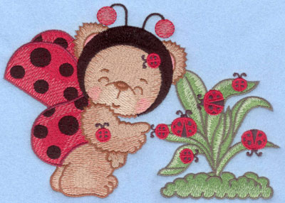 Embroidery Design: Ladybug bear with leaves large7.01w X 4.92h