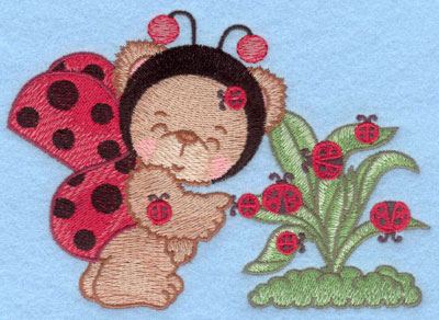 Embroidery Design: Ladybug bear with leaves small5.57w X 3.91h