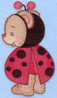 Embroidery Design: Ladybug bear standing large3.28w X 5.85h
