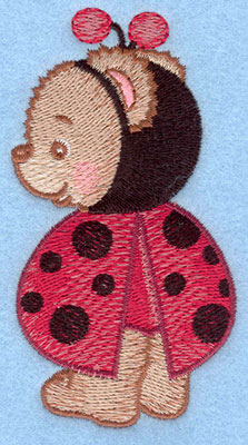 Embroidery Design: Ladybug bear standing small2.19w X 3.90h
