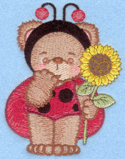 Embroidery Design: Ladybug bear with single sunflower small2.99w X 3.91h