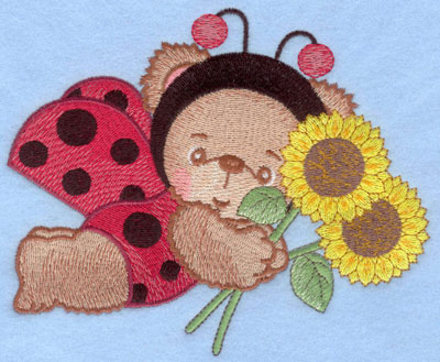 Embroidery Design: Ladybug bear with sunflowers large6.10w X 4.98h