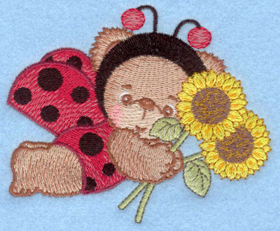 Embroidery Design: Ladybug bear with sunflowers small4.15w X 3.39h