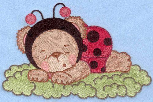 Embroidery Design: Ladybug bear sleeping on grass large7.01w X 5.45h