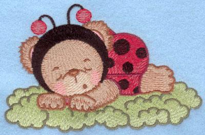 Embroidery Design: Ladybug bear sleeping on grass small4.93w X 3.21h
