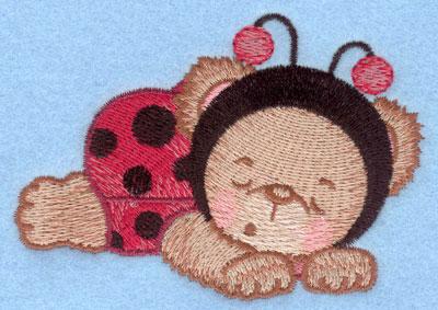 Embroidery Design: Ladybug bear sleeping small3.90w X 2.76h
