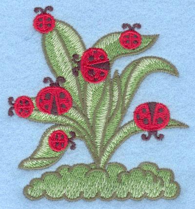 Embroidery Design: Ladybugs on plant large3.27w X 3.51h