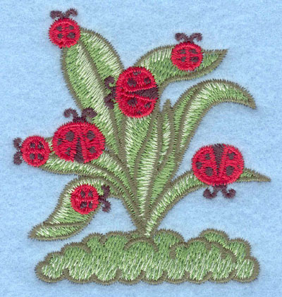 Embroidery Design: Ladybugs on plant small2.61w X 2.80h
