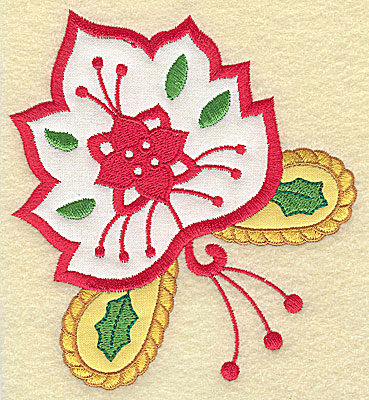Embroidery Design: Christmas Paisley design D couble applique large 4.51w X 4.93h