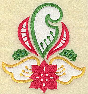 Embroidery Design: Christmas Paisley design E applique large 4.57w X 4.98h