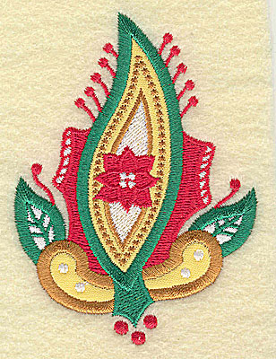 Embroidery Design: Christmas Paisley design F double applique small 2.78w X 3.82h