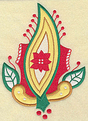 Embroidery Design: Christmas Paisley design F double applique large 6.80w X 4.90h