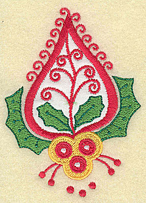 Embroidery Design: Christmas Paisley design G applique small 2.79w X 3.86h