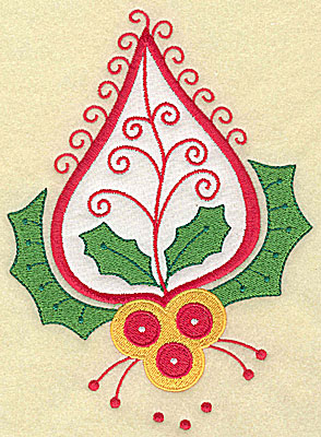 Embroidery Design: Christmas Paisley design G applique large 6.82w X 4.99h