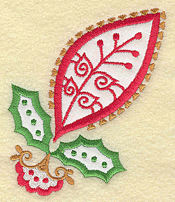 Embroidery Design: Christmas Paisley design H applique small 3.23w X 3.86h