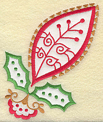 Embroidery Design: Christmas Paisley design H applique large 4.16w X 4.98h