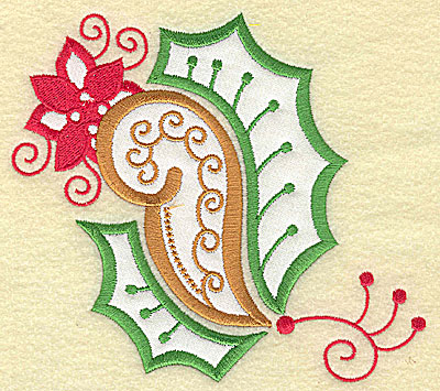 Embroidery Design: Christmas Paisley design J applique large 5.54w X 4.96h