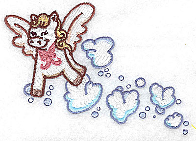 Embroidery Design: Pegasus playing in clouds large 4.96w X 3.54h