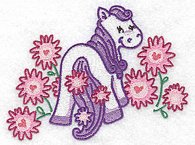 Embroidery Design: Pegasus and flowers large 4.97w X 3.79h