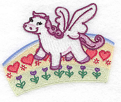 Embroidery Design: Pegasus on rainbow small 3.82w X 3.22h
