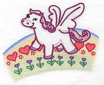 Embroidery Design: Pegasus on rainbow large 4.93w X 4.15h