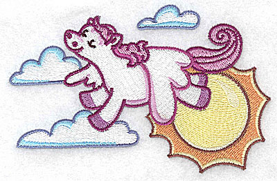 Embroidery Design: Pegasus with sun and clouds large 4.94w X 3.17h